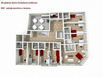 3D půdorys 3NP pension - Prodej penzionu 470 m², Lanškroun