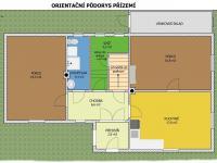 Orientační půdorys přízemí - Prodej domu v osobním vlastnictví 140 m², Žinkovy