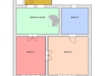 plánek hlavní budovy 2NP (1.patro) - Prodej domu v osobním vlastnictví 424 m², Trhové Sviny