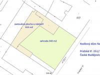 katastrální mapa - Prodej domu v osobním vlastnictví 123 m², České Budějovice