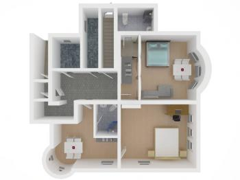 půdorys bytu - Prodej bytu 3+kk v osobním vlastnictví 90 m², Vítkovice