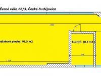 půdorys - Pronájem obchodních prostor 100 m², České Budějovice
