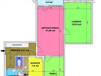 orientační půdorys bytu - Prodej bytu 3+1 v osobním vlastnictví 78 m², České Budějovice