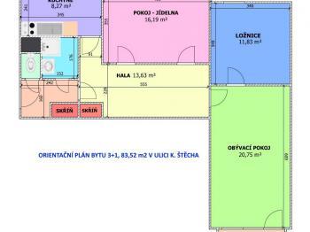 Prodej bytu 3+1 v družstevním vlastnictví 83 m², České Budějovice