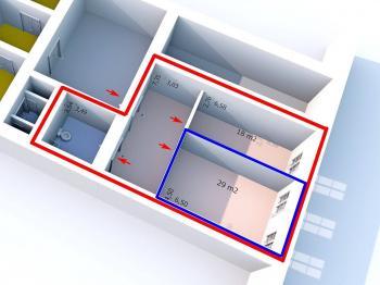 Půdorys - Pronájem kancelářských prostor 29 m², Svitavy