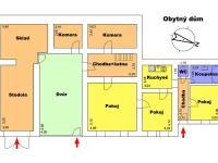 Půdorys obytná budova - Prodej domu v osobním vlastnictví 196 m², Trstěnice