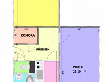 plánek bytu  - Prodej bytu 2+1 v osobním vlastnictví 65 m², Český Krumlov