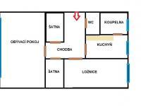 plánek bytu  (Prodej bytu 2+1 v osobním vlastnictví 56 m², Hradec Králové)
