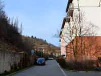 příjezdová cesta - vzadu vlevo pohled na Babu (Pronájem bytu 2+kk v osobním vlastnictví 68 m², Praha 6 - Dejvice)