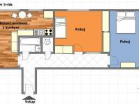 Půdorys bytu (Prodej bytu 3+kk v osobním vlastnictví 66 m², Praha 9 - Hloubětín)