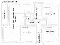 Půdorys domu (Prodej domu v osobním vlastnictví 137 m², Klučov)