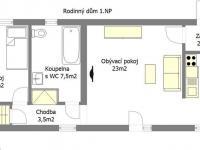 Půdorys RD 1.NP - Prodej komerčního objektu 258 m², Praha 5 - Lahovice