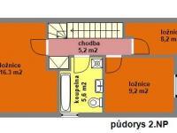 půdorys 2.NP - Pronájem domu v osobním vlastnictví 104 m², Praha 9 - Újezd nad Lesy