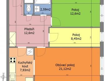 Půdorys - Prodej bytu 3+kk v osobním vlastnictví 67 m², Praha 8 - Troja