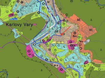 Mapa ÚP - Prodej pozemku 183 m², Karlovy Vary