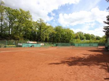 pohled na tenisové kurty - Pronájem komerčního objektu 5555 m², Praha 10 - Nedvězí u Říčan