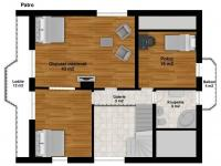 Půdorys 2NP - Prodej domu v osobním vlastnictví 269 m², Praha 9 - Horní Počernice