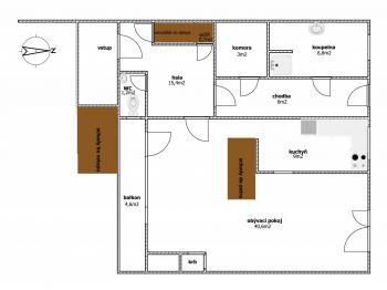 Půdorys přízemí - Pronájem domu v osobním vlastnictví 280 m², Praha 9 - Horní Počernice