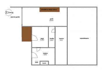 Půdorys suterén - Pronájem domu v osobním vlastnictví 280 m², Praha 9 - Horní Počernice