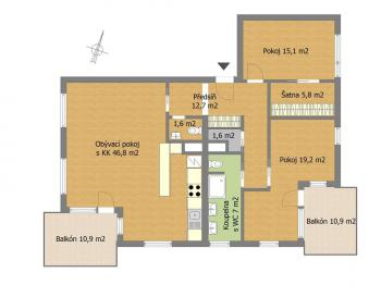 Půdorys - Pronájem bytu 3+kk v osobním vlastnictví 137 m², Dobřichovice