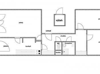 Půdorys - Prodej bytu 3+1 v osobním vlastnictví 80 m², Praha 10 - Hostivař