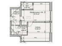 půdorys - Prodej bytu 2+kk v osobním vlastnictví 43 m², Říčky v Orlických horách