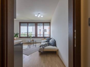 Pohled z předsíne - Prodej bytu 1+kk v osobním vlastnictví 31 m², Praha 7 - Holešovice