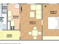 dispoziční plánek bytu (Prodej bytu 2+1 v osobním vlastnictví 57 m², Hodonín)