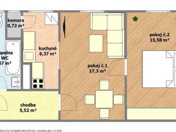 dispoziční plánek bytu - Prodej bytu 2+1 v osobním vlastnictví 57 m², Hodonín