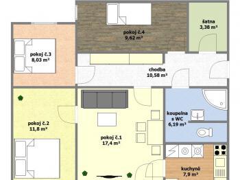 dispoziční plánek bytu - Prodej bytu 4+1 v družstevním vlastnictví 76 m², Hodonín