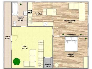 dispoziční plánek patro - Prodej domu v osobním vlastnictví 250 m², Svatobořice-Mistřín