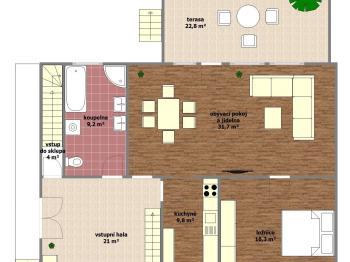 dispoziční plánek přízemí - Prodej domu v osobním vlastnictví 250 m², Svatobořice-Mistřín