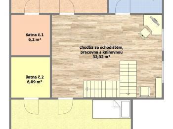 dispoziční plánek patro - Prodej domu v osobním vlastnictví 253 m², Sobůlky