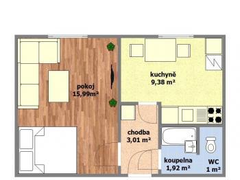 dispoziční plánek bytu - Prodej bytu 1+1 v osobním vlastnictví 32 m², Hodonín