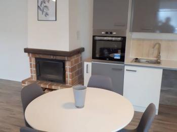 Kuchyň, krb. - Pronájem domu v osobním vlastnictví 125 m², Otmíče