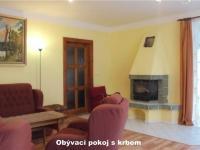 Obývací pokoj s krbem a vstupem na terasu (Prodej domu v osobním vlastnictví 121 m², Krásná Hora nad Vltavou)