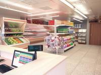 návrh na obchod s potravinami (vizualizace) (Prodej obchodních prostor 76 m², Plzeň)