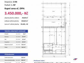 půdorys - Prodej bytu 2+kk v osobním vlastnictví 135 m², Plzeň
