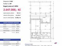 půdorys (Prodej bytu 2+kk v osobním vlastnictví 111 m², Plzeň)