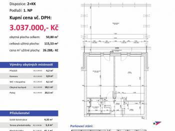 půdorys - Prodej bytu 2+kk v osobním vlastnictví 116 m², Plzeň