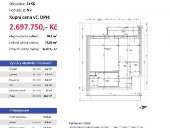 půdorys - Prodej bytu 2+kk v osobním vlastnictví 75 m², Plzeň