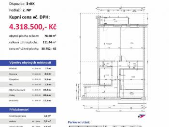 půdorys - Prodej bytu 1+kk v osobním vlastnictví 55 m², Plzeň