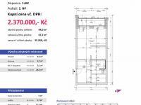 půdorys s výměrami - Prodej bytu 1+kk v osobním vlastnictví 67 m², Plzeň