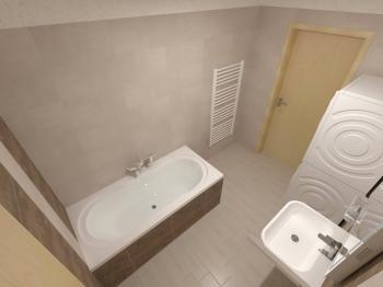 vizualizace koupelny - Prodej bytu 2+kk v osobním vlastnictví 97 m², Plzeň