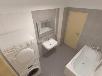 vizualizace koupelny - Prodej bytu 3+kk v osobním vlastnictví 98 m², Plzeň