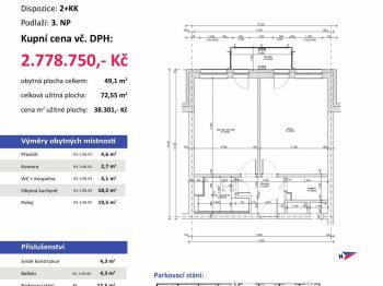 půdorys - Prodej bytu 2+kk v osobním vlastnictví 73 m², Plzeň