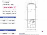půdorys (Prodej bytu 1+kk v osobním vlastnictví 54 m², Plzeň)