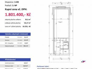 půdorys - Prodej bytu 1+kk v osobním vlastnictví 54 m², Plzeň