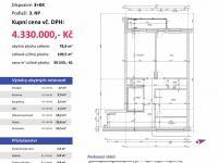 půdorys (Prodej bytu 3+kk v osobním vlastnictví 110 m², Plzeň)