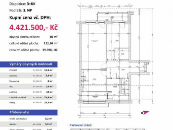 půdorys - Prodej bytu 3+kk v osobním vlastnictví 112 m², Plzeň